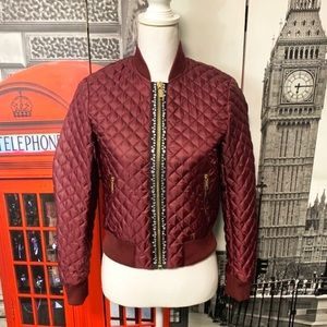 Michael Kors Studded Bomber Red Jacket Size XS
